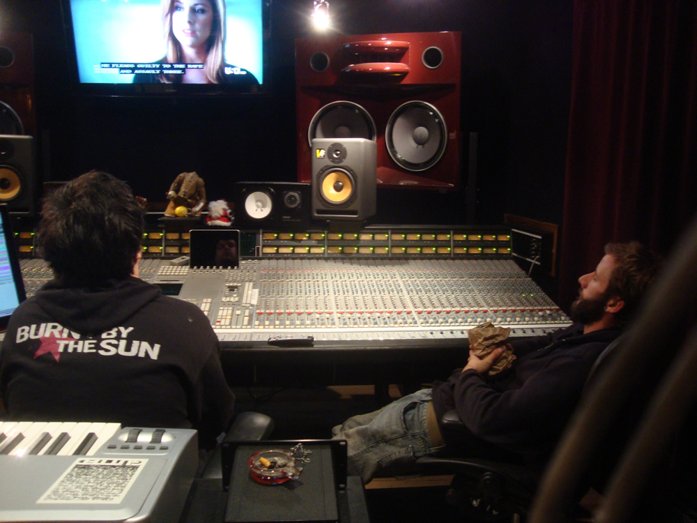 Brian and Dave mixing at SMT Studios